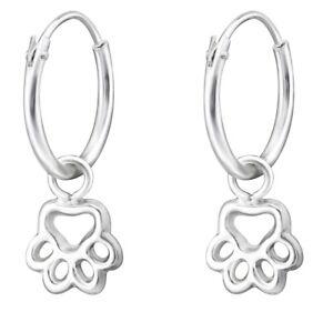 Girls sterling silver paw print hoop earrings sparkly fun dress-up