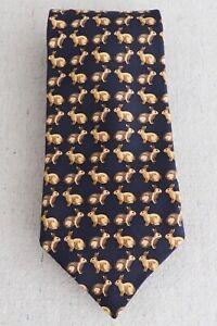 Vintage Burberry Navy Blue Silk Tie Brown Spring Easter Bunny Hare Rabbit