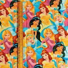 DISNEY Princess Belle Rapunzel Jasmine Cinderella 22 X 18 cotton fabric FQ