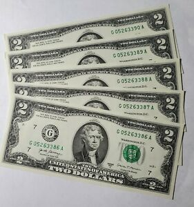 **Lot of 5 NEW Uncirculated/Sequential Two Dollar Bills~Crisp $2 Notes 2017A ***