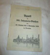 1936 Appell der 192. Infanterie Division in DRESDEN / Festschrift-Original