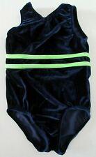 GK Elite Gymnastics Leotard Girl Child Small CS S Navy Blue Velvet Velour Green
