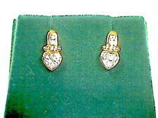 9ct Gold and Heart Shape CZ Stud Earrings.