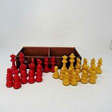 VIntage Chess Set Bakelite/Catalin E.S.Lowe Staunton Cherry Red/Yellow Complete