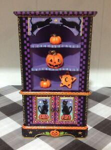 Dollhouse Miniature Halloween Hand Painted Corner Bookshelf Bookcase 1:12 OOAK