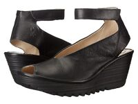 Fly London Women's Yala Wedge Sandals Black Mousse