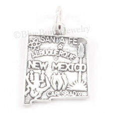 NEW MEXICO Charm Pendant STATE Map CARLSBAD Travel STERLING SILVER 925 .925