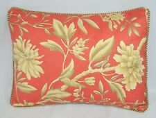 Pillow made w Ralph Lauren Villa Camelia Coral Orange Floral Fabric trim cord