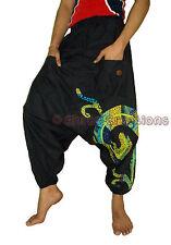 Men Pockets Cotton Black Harem Pants Indian Women Yoga Trouser Genie Hippie Pant
