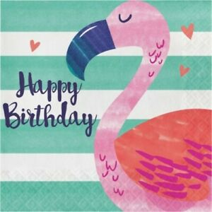 Pineapple N Friends Flamingo Happy Birthday Lunch Napkins Paper 16 Pack