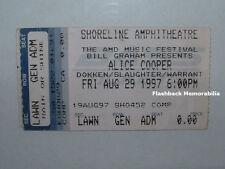 Alice Cooper / Dokken Concert Ticket Stub 1997 Shoreline Slaughter Warrant Rare