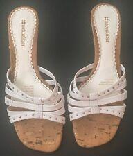 Naturalizer White Sana Sandals Shoes 7 1/2 M Studded Cork Heels Leather Upper