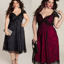 Sexy Women V Neck Elegant Short Sleeve Party Midi Formal Lace Dress Plus Size