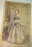 Antique American Civil War Victorian Fashion Lady! Hat & Gloves! CDV NY Photo!