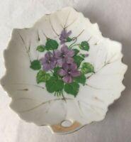 "Vintage Nasco Japan 4"" Leaf Shaped China Candy Plate Dish Purple Violets"