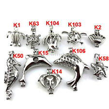 21634 10X/lot Wholesale Silver Sea Horse Shell Turtle Dolphin Pearl Cage Pendant