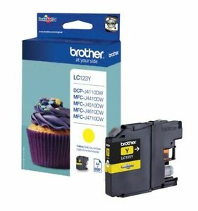 Genuine Brother LC123, Yellow Ink jet Printer Cartridge, LC123Y, LC-123Y