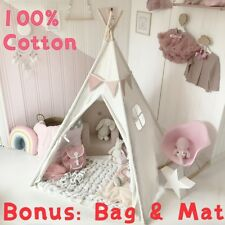White Cotton CanvasTeepee Tent for Kids Indoor Playhouse Children