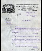 "PARIS (IX°) COMPAGNIE D'ASSURANCES ""L'EUROPE"" en 1912"