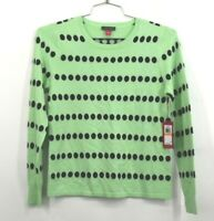 Vince Camuto Womens Dot Jacquard Crewneck Cotton Blend Sweater Green Black Dot S