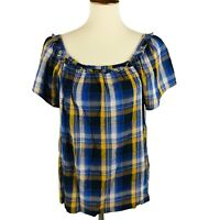 Vince Camuto Womens Sunset Blue Gold Ruffled Plaid Blouse Top Size S