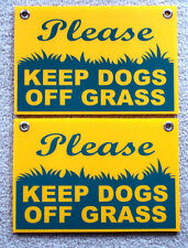 "2 PLEASE KEEP DOGS OFF GRASS 8""X12"" Plastic Coroplast Signs with Grommets  NEW"