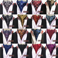 Men Colorful Paisley Floral Polka Dots Silk Cravat Ascot Wedding Party Neck Ties