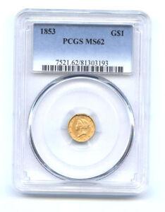 1853 G$1  -PCGS MS 62  -GOLD DOLLAR//