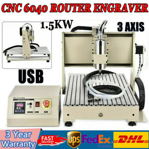 6040 USB 3Axis Graviermaschine 1.5KW CNC Router Engraver 3D Cutter Water-cooled