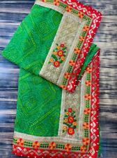 Green Bandhej Bandhani Saree Georgette Embroidered Sari Fabric Party Dress Craft