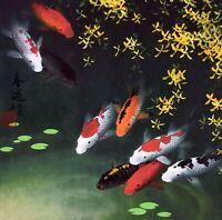 100% ORIGINAL ASIAN FINE ART CHINESE ANIMAL WATERCOLOR PAINTING-Koi fishes carps