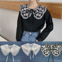 Women Embroidered Lace Doll Collar Fake Collar Bow Detachable Shirt Doll Collar
