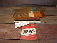 Vintage Keuffel & Esser K&E Slide Rule & Leather Case & Templates Stencils!