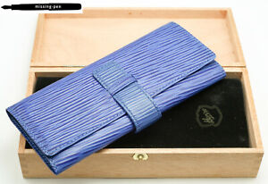Milano Leather Etui / Case for 3 Pens in Blue with wood box