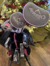 "RARE NEW Callaway XJ Girls Pink RH Junior 53""-60"" hgt Golf 7 Club Set & Bag Kids"