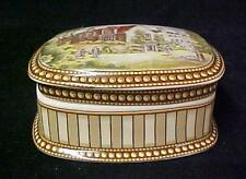 Victorian Trinket Box Porcelain Transferware Powder Jewelry Stripe Castle New