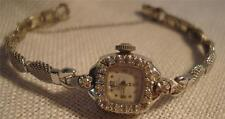 Lady Hamilton female watch 14K white gold w/ clear stones