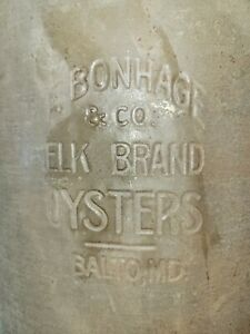 """RARE Baltimore MD OYSTER CAN. F. BONHAGE ELK BRAND OYSTERS BALTO. MD  10.5"""" high"""