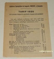 Anciens TARIFS de 1935 : Célèbres Spécialités de Auguste VINCENT à GRENOBLE