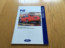 Ford Rallye Sport 1992 / 93 Brochure. Fiesta RS 1800,Escort RS 2000, Cosworth
