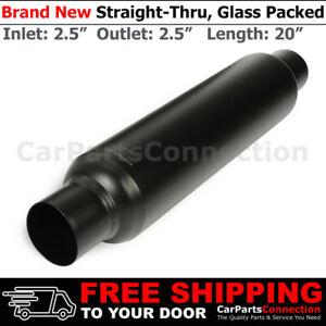 HighFlow Straight-Thru Universal Muffler 2.5 Inches Inlet Outlet Exhaust 256921