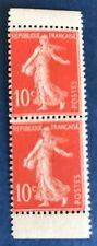 France N° 135 10 C Rouge Paire Verticale De Carnet Neuf ** Cote 90€ TTB