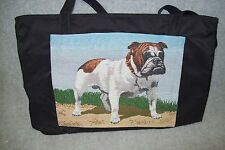 English Bulldog Tapestry Large Black Canvas Tote Bag.
