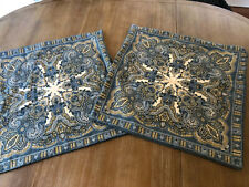 "Pottery Barn ""Mansfield Paisley - Blue 24"" Linen Pillow Cover Set Of 2"