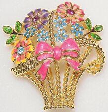 Flower Bow Basket Pin Brooch Goldtone Christopher Radko Green Rhinestone Enamel