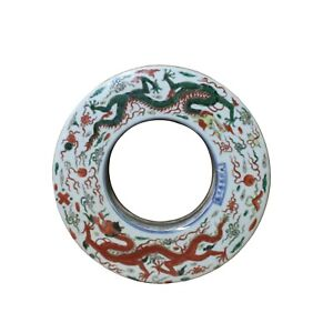 Chinese Red Green Double Dragon Fengshui Porcelain Round Bai Display ws1088