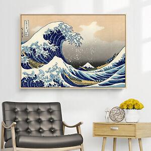 "Great Wave Off Kanagawa Japan Ukiyoe Paint Silk Canvas Wall Poster 36""x24"" U129"