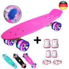 Skateboard Mini Cruiser Penny Board Rollbrett mit Schutzausrüstung LED Räder