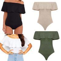 Women Jumpsuit Off Shoulder Ruffles Bodysuit V-neck Romper Leotard Summer Top US