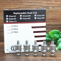 5pcs Authentic iClear 16B/16D tank replacment coil head dual units fast shipping